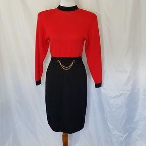 Vtg St. John Red Black Color Block Sweater Dress
